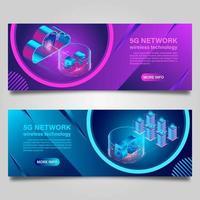 Ensemble de bannière de technologie sans fil réseau 5g vecteur