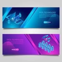 ensemble de bannière de technologie de données et de cloud computing vecteur