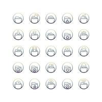 jeu d'icônes de dégradé de dossier. vecteur et illustration.