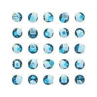 jeu d'icônes plat de document. vecteur et illustration.