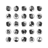 jeu d'icônes solides de document. vecteur et illustration.