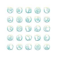 jeu d'icônes de dégradé de document. vecteur et illustration.