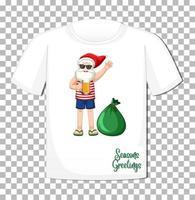 personnage de dessin animé de père noël sur t-shirt vecteur