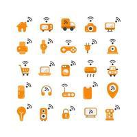 Internet des objets jeu d'icônes plat. vecteur et illustration.