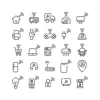 Internet des objets jeu d'icônes de contour. vecteur et illustration.