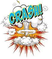 mot crash sur fond d'explosion de nuage comique vecteur