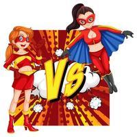 deux super-héros se battant vecteur