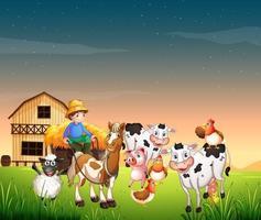 scène de ferme avec ferme animale et ciel blanc