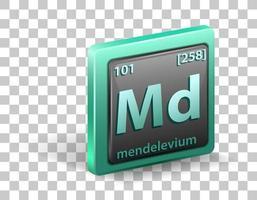 élément chimique mendelevium. symbole chimique avec numéro atomique et masse atomique.