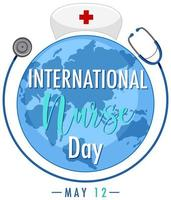conception de la journée internationale des infirmières avec grand monde et stéthoscope vecteur