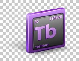 élément chimique terbium. symbole chimique avec numéro atomique et masse atomique. vecteur