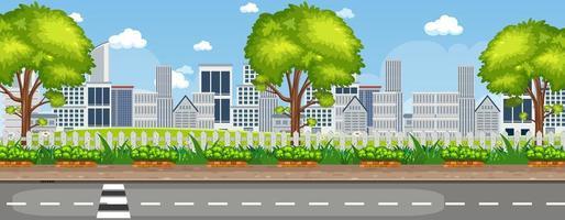 paysage extérieur avec vue urbaine vecteur