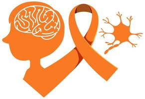 Ruban orange sensibilisation à la leucémie sensibilisation à la sclérose en plaques signe ou objet de sensibilisation à la malnutrition vecteur