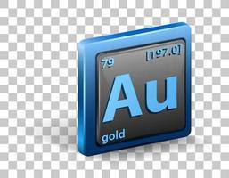 élément chimique en or. symbole chimique avec numéro atomique et masse atomique.