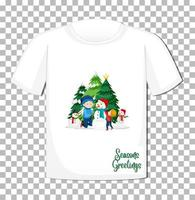 Enfants jouant avec bonhomme de neige dans le thème de Noël sur t-shirt sur fond transparent