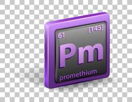 élément chimique prométhium. symbole chimique avec numéro atomique et masse atomique.