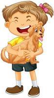 Une fille tenant le personnage de dessin animé de chien mignon isolé sur fond blanc