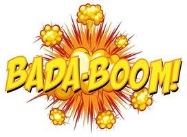 bulle de dialogue comique avec texte bada-boom vecteur