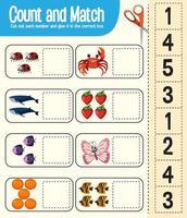 jeu de comptage et de correspondance, feuille de calcul pour les enfants vecteur