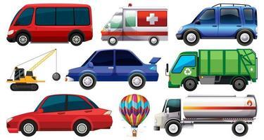 ensemble de différents types de voitures et de camions isolés sur fond blanc