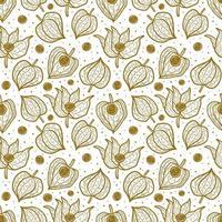 physalis, modèle sans couture de cerise d'hiver, texture, arrière-plan. conception d'emballage floral. vecteur