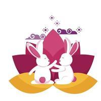 lapins de conception de vecteur festival mi automne