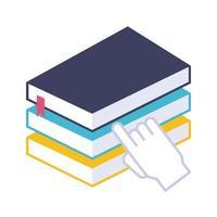 pile de livres électroniques avec style plat en ligne éducation main souris