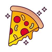 délicieuse pizza italienne icône de style détaillé de restauration rapide