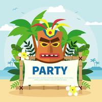 Masque polynésien à la fête d'anniversaire vecteur