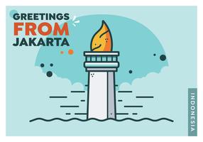 Vecteur de carte postale de Jakarta