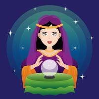 Diseuse de bonne aventure avec illustration boule de cristal. vecteur