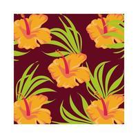 fleurs orange plantes de fond tropical vecteur