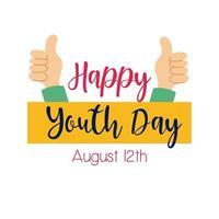 bonne journée de la jeunesse lettrage avec les mains comme le style plat de symbole