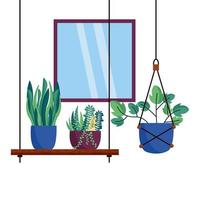 plantes isolées et conception de vecteur de fenêtre