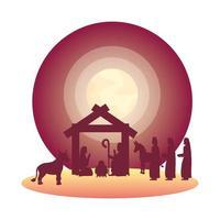 sainte famille et animaux avec des silhouettes de crèche de sages