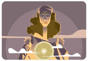 Femme gitane avec vecteur de boule de cristal