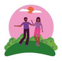 conception de vecteur avatar femme et homme heureux