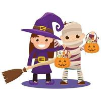 petits enfants en costumes d'halloween