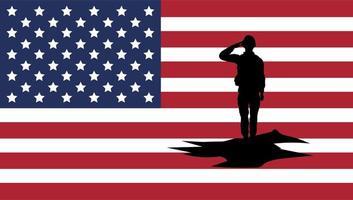 Soldat saluant silhouette avec fond de drapeau usa vecteur