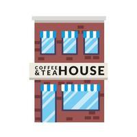 petite scène de façade de bâtiment de magasin de café et de thé