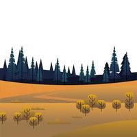 arbres et forêts de pins en scène de champ