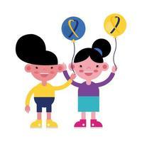 enfants avec des ballons avec des rubans trisomiques vecteur