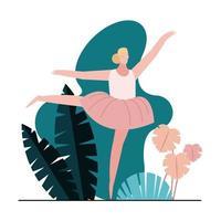 jeune femme, danse, ballet, dans parc vecteur