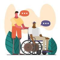 jeunes hommes avec prothèse de jambe et fauteuil roulant vecteur