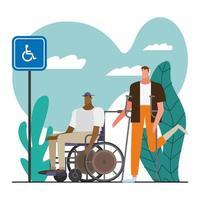 jeunes hommes avec des béquilles et un fauteuil roulant vecteur