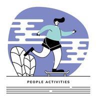 homme, équitation, skateboard, dans parc