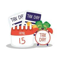 jour de l'impôt 15 avril calendrier avec document et conception de vecteur d'horloge