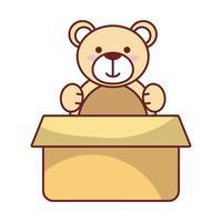 ours en peluche isolé à l'intérieur de la conception de vecteur de boîte