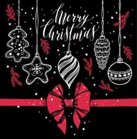 jouets du nouvel an style dessiné à la main sur fond noir avec arc rouge et neige.