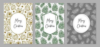 joyeux noël ensemble de cartes de voeux. décoration de vacances. vecteur